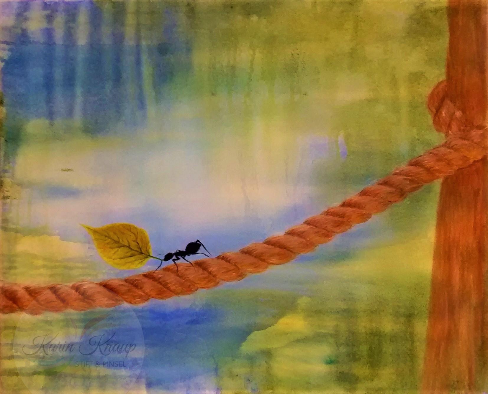Blattschneiderameise, Acryl auf Leinwand, 50 x 60 cm