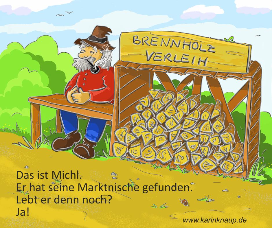 Cartoon Brennholz-Verleih