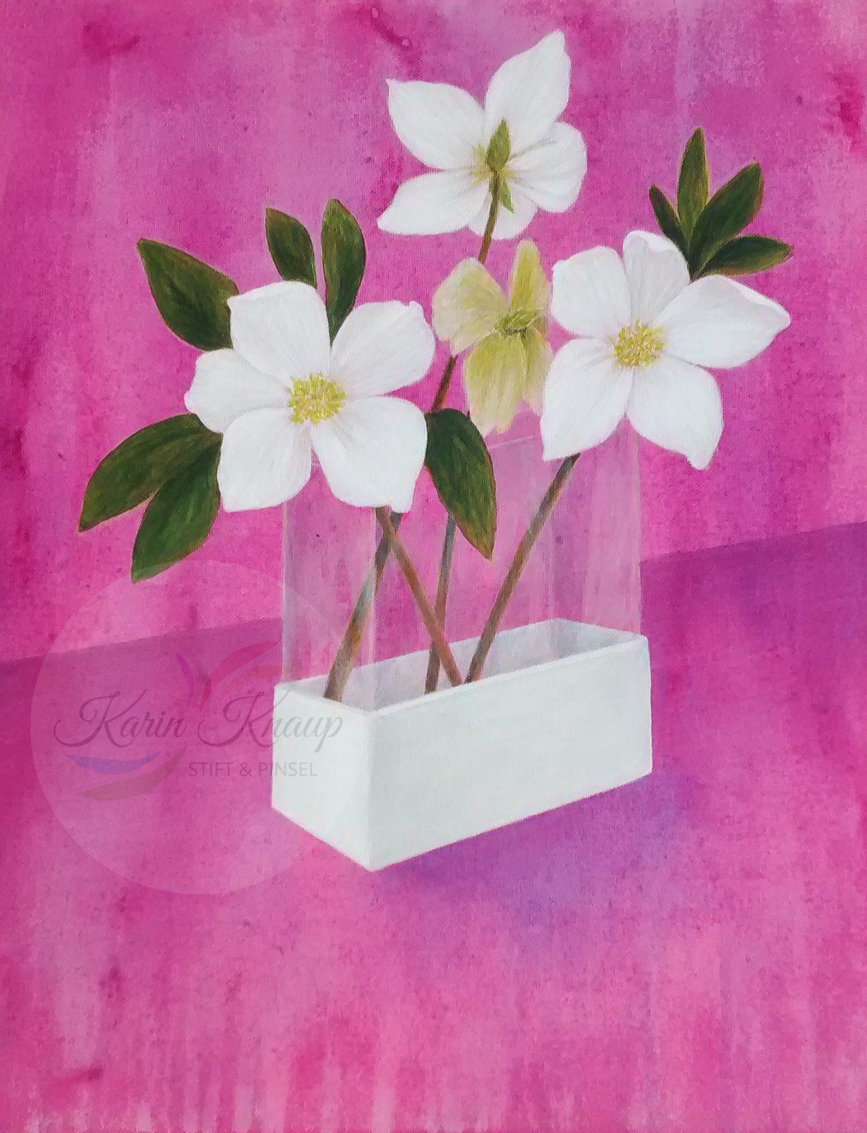 Christrosen - Acryl auf Leinwand 30 x 40 cm
