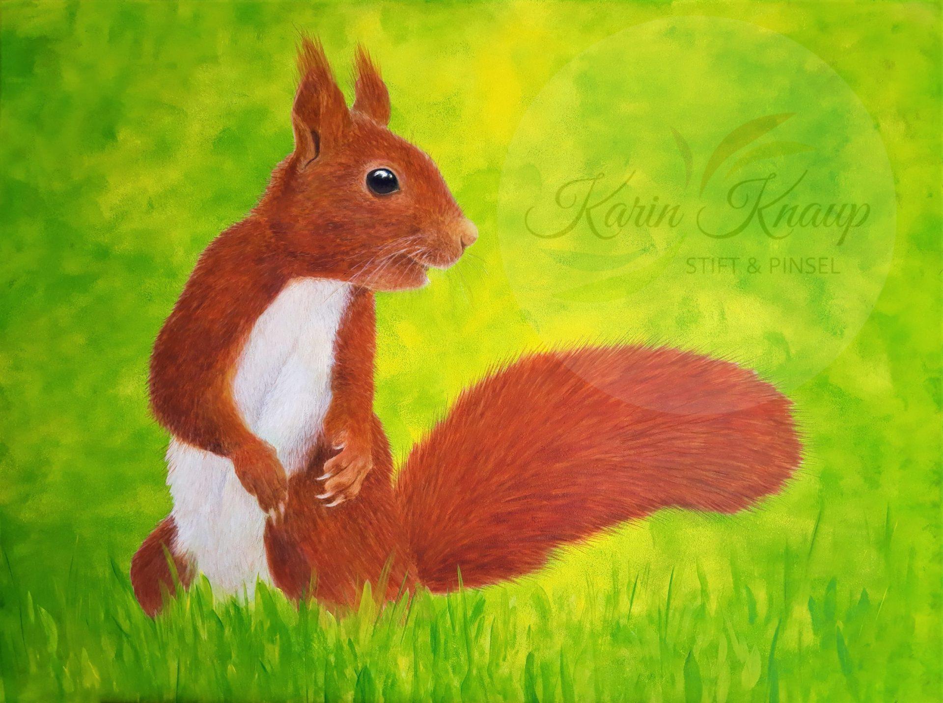 Eichhörnchen im Gras Acryl auf Leinwand