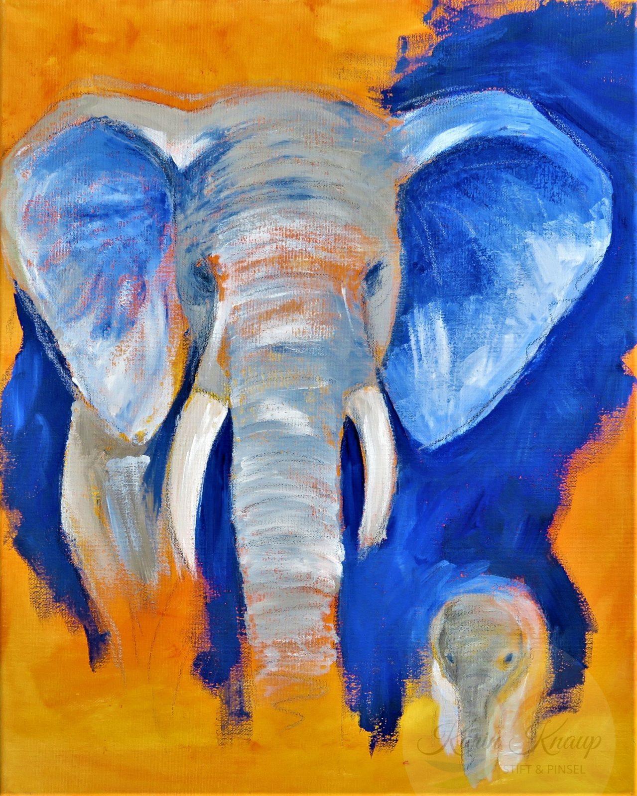 Elefanten Mama und Baby, Acryl auf Leinwand, 40 x 50 cm
