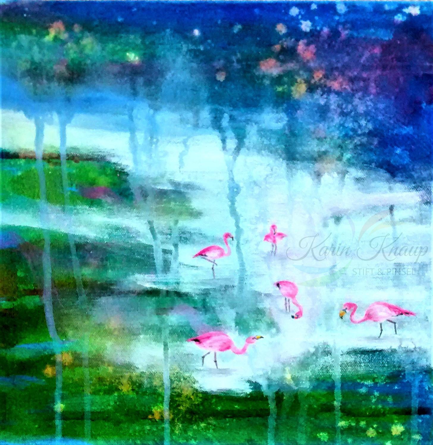 Flamingos am Fluss - Acryl auf Leinwand 30 x 30 cm