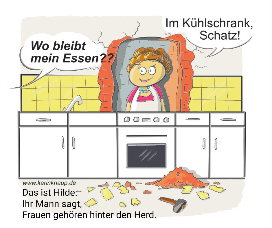 Cartoon Hilde - Frauen gehören hinter den Herd