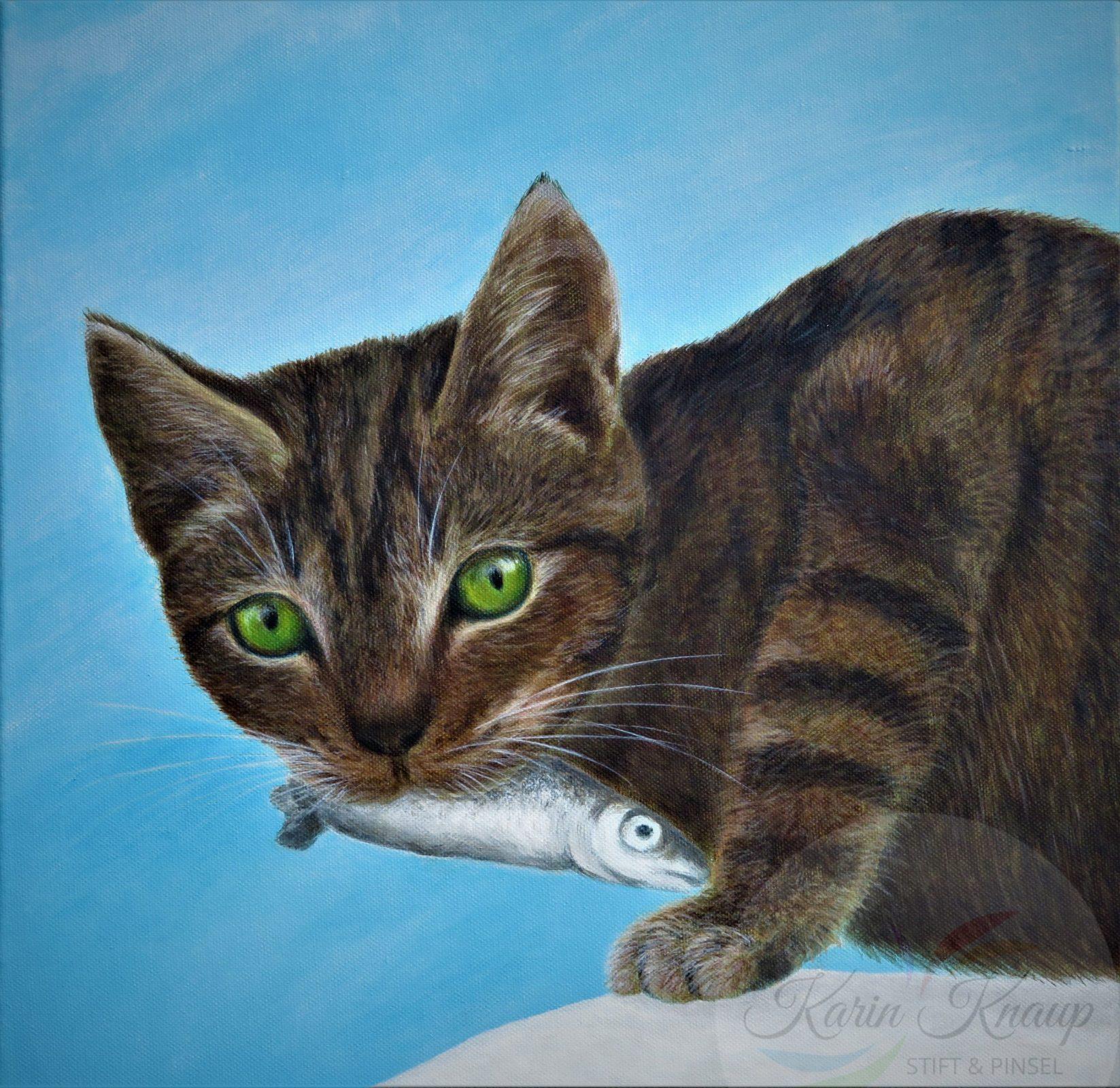 Katze mit Fisch Acryl auf Leinwand 50 x 50 cm