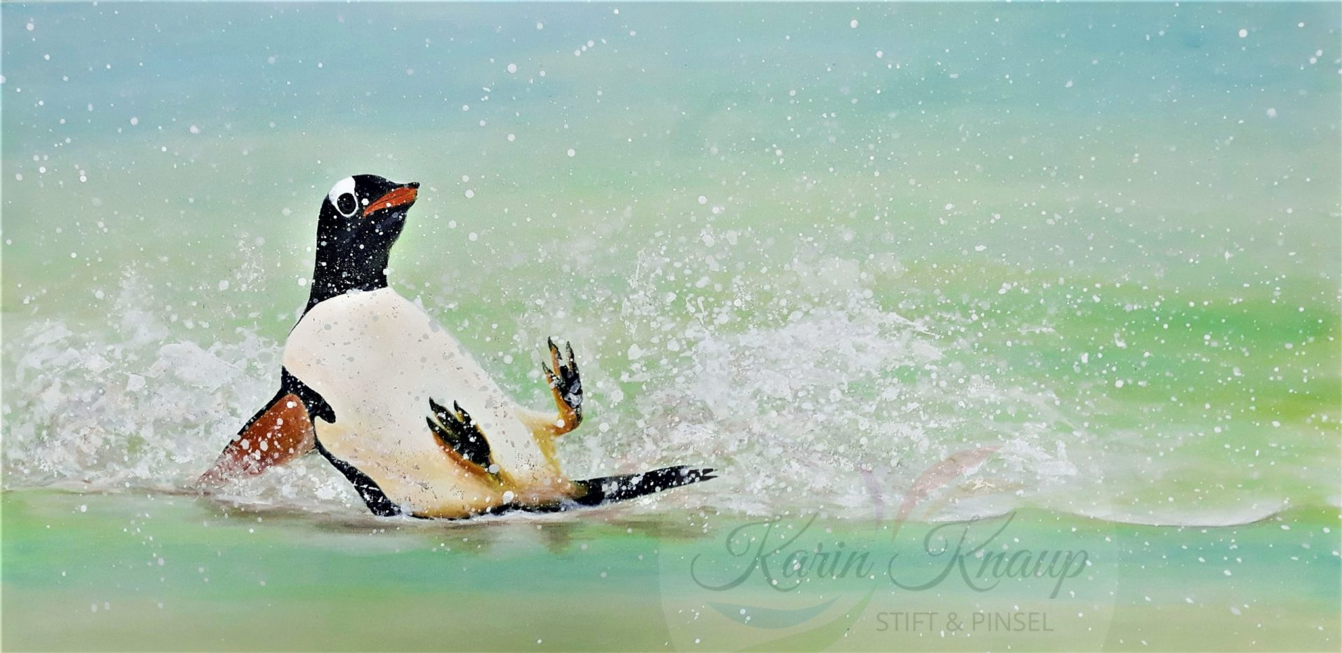 Pinguin Acryl auf Leinwand 40 x 80 cm