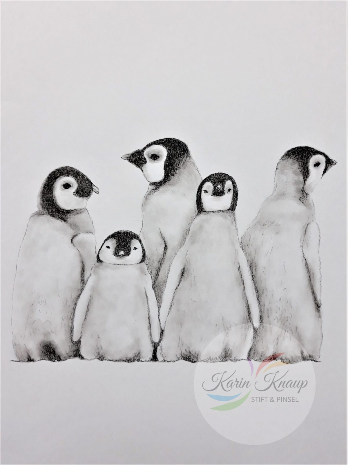 Pinguinfamilie Kohlezeichnung A4