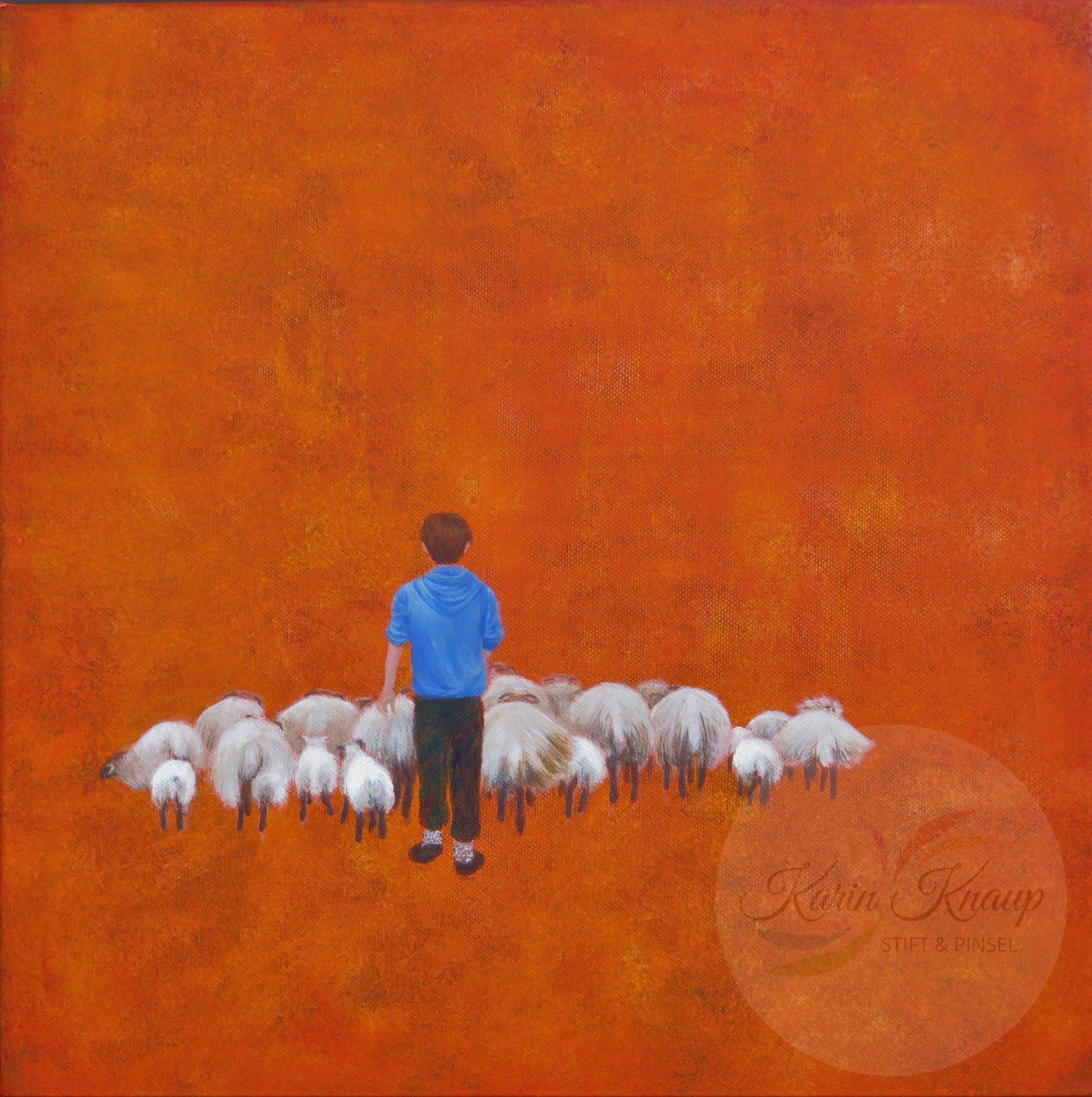 Schafherde mit Hirtenjunge Acryl auf Leinwand 40 x 40 cm
