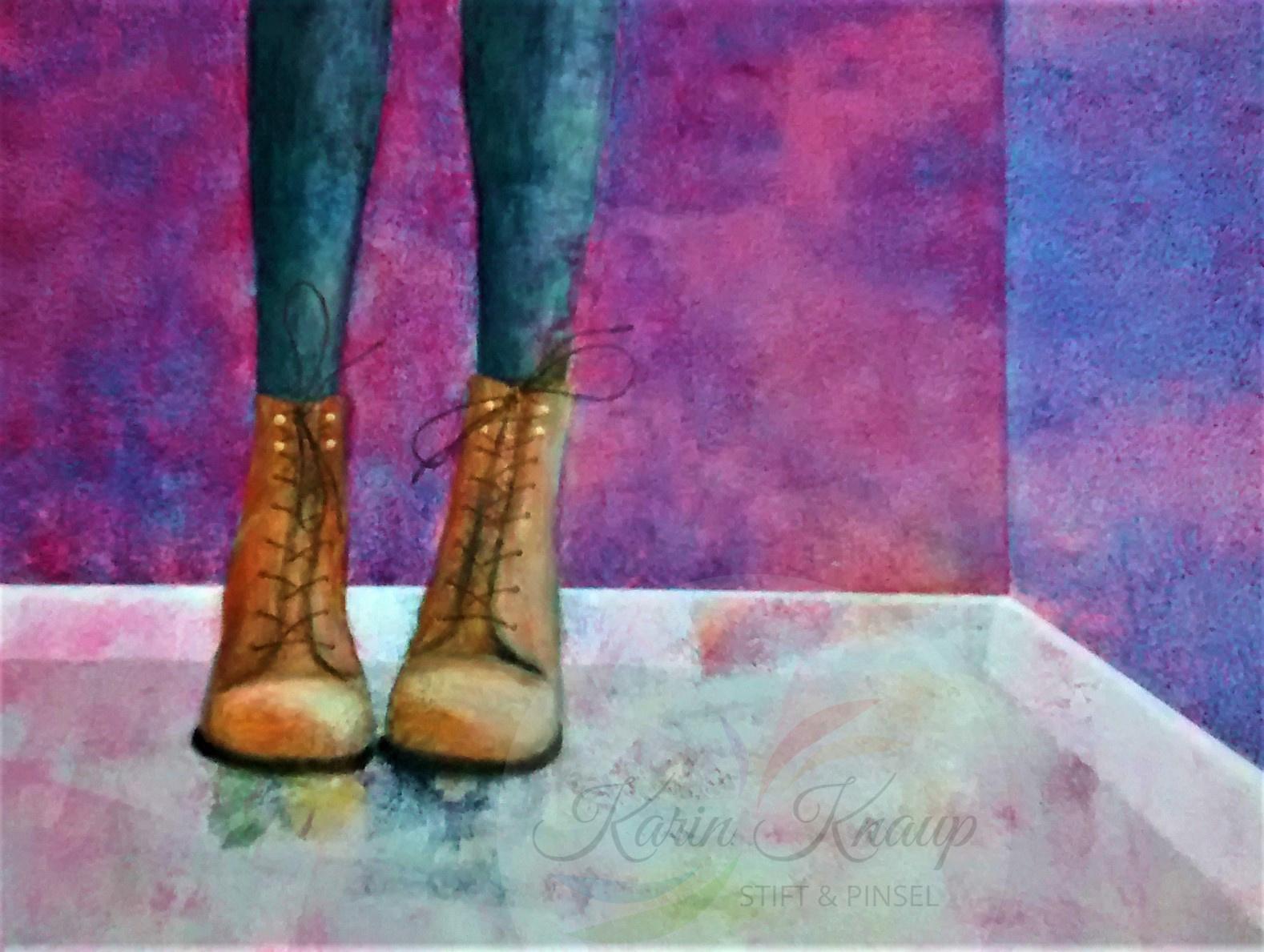 Schuhe Acryl auf Leinwand 70 x 90 cm