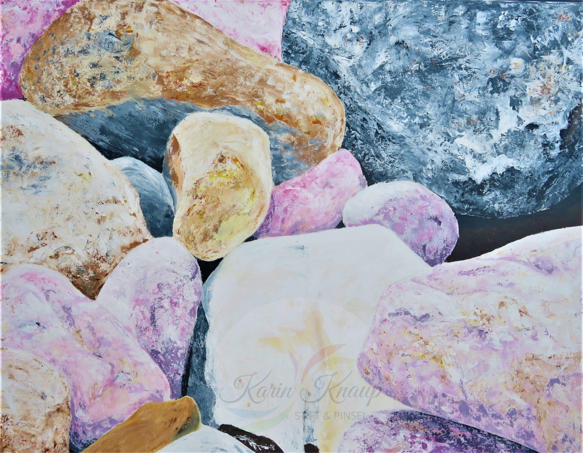 Steine, Acryl auf Leinwand, 70 x 90 cm
