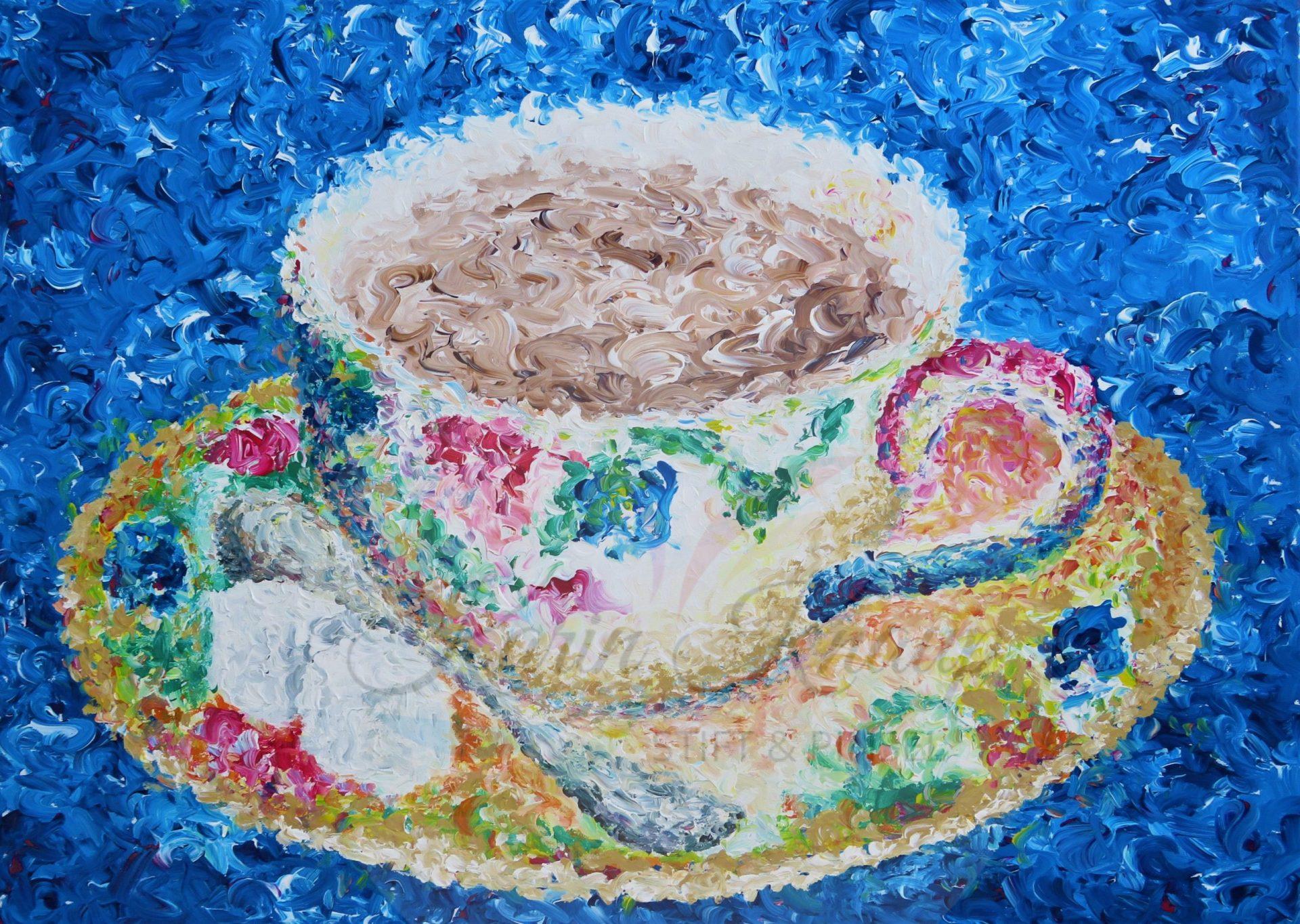 Tasse mit Kakao, Acryl auf Leinwand, 60 x 70 cm