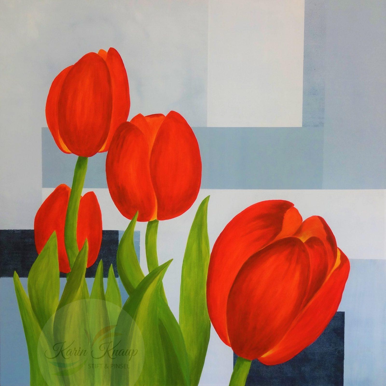 Tulpen Acryl auf Leinwand 90 x 90 cm